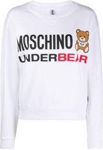 Moschino Blusa De Pijama Com Estampa De Logo - Branco