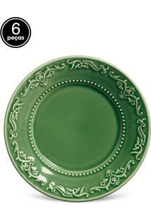 Conjunto 6Pçs Pratos De Sobremesa Porto Brasil Acanthus Verde
