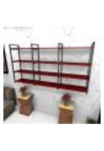 Estante Estilo Industrial Sala Aço Cor Preto 180X30X98Cm Cxlxa Cor Mdf Vermelho Modelo Ind58Vrsl