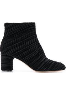 Casadei Ankle Boot Canelada De Veludo - Preto