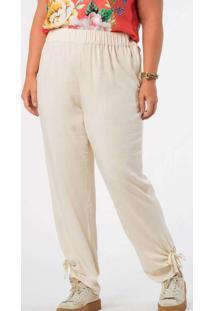 Calça Almaria Plus Size Munny Barra Vazado Branco