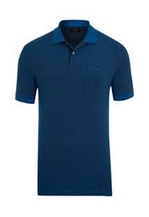 Polo Pierre Cardin Piquet Com Bolso Modern - Masculino-Azul
