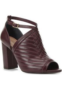 Sandália Couro Shoestock Matelassê Salto Bloco Alto Feminina - Feminino-Vinho
