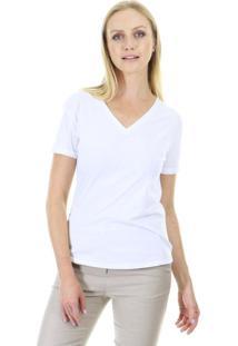 Camiseta Bã¡Sica Manga Curta Lisa Com Decote Em V E Acabamento Em Viã©S Aha - Branco - Feminino - Dafiti