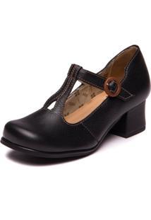 Sapato Preto Boneca Em Couro - Floater Preto / Pinhao 7616