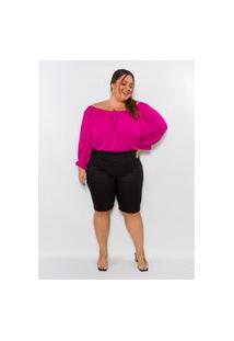 Bermuda Plus Size Feminina Lisamour Em Sarja Preta