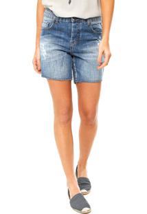 Bermuda Jeans Cantão Bia Estonada Azul