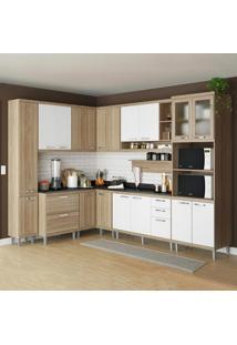 Cozinha Compacta 16 Portas C/ Tampo Pt E Vidro 5803 Branco/Argila - Multimóveis