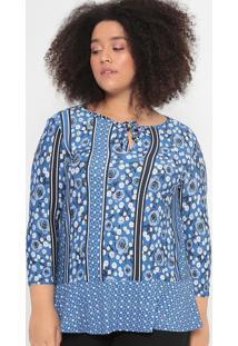 Blusa Com Amarração- Azul & Preta- Malweemalwee