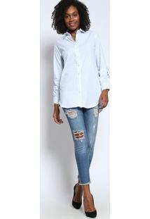 Camisa Listrada Com Recortes- Azul Claro & Verdetvz