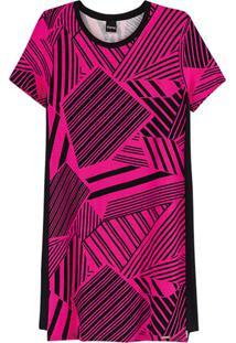 Vestido Rosa Geométrico Em Moletinho
