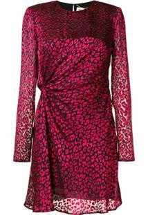 Saint Laurent Vestido Franzido De Seda - Vermelho