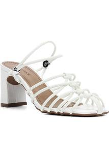 Sandália Shoestock Croco Tiras Salto Médio Feminina - Feminino-Branco