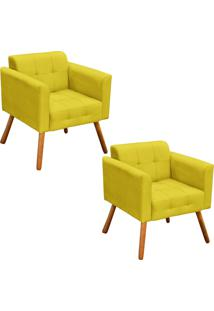 Kit 02 Poltrona Decorativa Elisa Suede Amarelo Pã©S Palito - D'Rossi - Amarelo - Dafiti