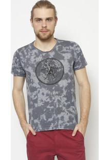 Camiseta Tie-Dye- Azul & Cinza - ÊNfaseãŠNfase