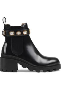 Gucci Ankle Boot De Couro Com Aplicações - Preto