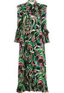 La Doublej Vestido Longo Fancy Verde De Seda