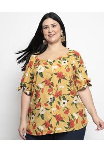 Blusa Floral Com Botões- Amarelo Escuro & Laranja Escuropianeta