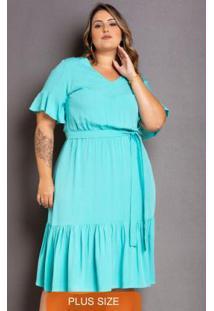 Vestido Babado Tiffany Plus Size Azul