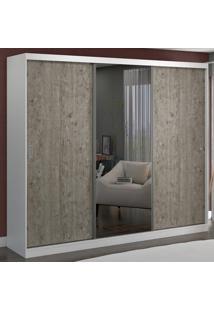 Guarda-Roupa Casal 3 Portas Com 1 Espelho 100% Mdf 1903E1 Branco/Demolição - Foscarini