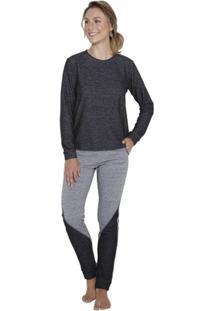 Pijama Inspirate Longo Feminino Moletom Reciclato Feminino - Feminino-Mescla Escuro