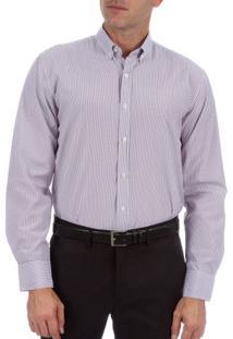 Camisa Social Masculina Marrom Listrada - 02