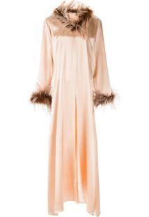 Alison Brett Feather-Trimmed Robe Dress - Rosa