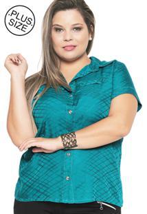 Camisa Estilo Boutique Quadrique Verde