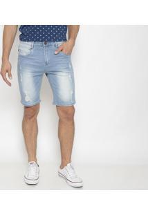 Bermuda Jeans Com PuãDos- Azul Claro- Pacific Bluepacific Blue