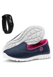 Kit Tênis Caminhada Feminino Sapatilhas Sapatore E Relógio Azul