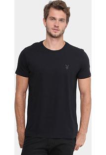 Camiseta Ellus Gola Careca Coelho Básica Masculina - Masculino-Preto