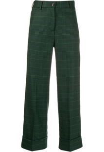 Brag-Wette Calça Cropped Xadrez - Verde