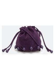 Bolsa Saco Transversal Em Couro Bucket Com Bolinhas E Enforcador   Atelier   Roxo   U