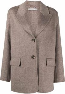 12 Storeez Blazer Com Abotoamento Simples De Cashmere E Lã - Marrom