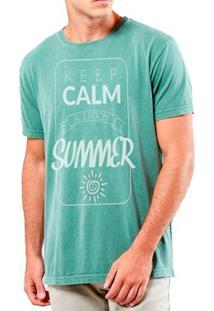 Camiseta Masculina Sandro Clothing Keep Calm Enjoy Verde Água Estonada