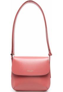 Giorgio Armani Logo-Embossed Leather Shoulder Bag - Rosa