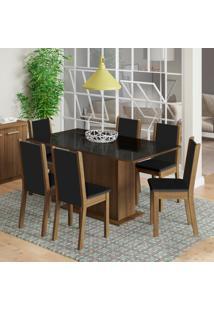 Conjunto De Mesa Com 6 Cadeiras De Jantar Anis Marrom Corino Preto
