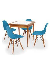 Conjunto Mesa De Jantar Em Madeira Imbuia Com Azulejo + 4 Cadeiras Eames Eiffel - Turquesa