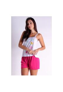 Pijama Curto Alcinha Bravaa Modas Baby Doll Short Blusinha 139 Rosa
