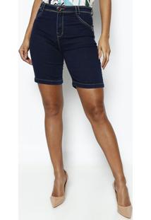 Bermuda Jeans Com Pespontos- Azul Escurodimy