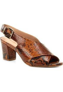 Sandália Couro Shoestock Strappy Salto Bloco Feminina - Feminino-Caramelo