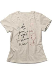 Camiseta Feminina Girls Have Wine - Feminino-Mescla