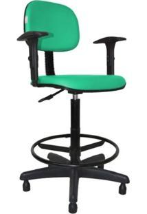 Cadeira Caixa Alta Secretária - Balcão - Portaria - Com Braço Corano Turquesa