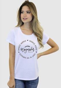 Camiseta Suffix Blusa Estampa Way Maker Basica Gola Redonda Feminina - Feminino-Branco