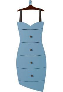 Cômoda 4 Gavetas Dress Maxima Cacau/Azul Serenata