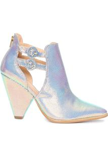 Sapato Feminino Holográfico - Prata