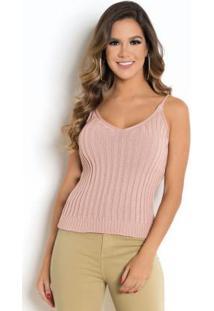 Blusa De Alças Em Tricô Rosê Decote V