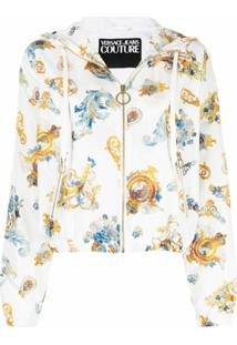 Versace Jeans Couture Barocco-Print Hooded Jacket - Branco