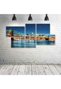 Quadro Decorativo - New-York-City-Night-Lights - Composto De 5 Quadros - Multicolorido - Dafiti