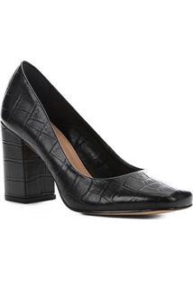 Scarpin Couro Shoestock Salto Alto Croco - Feminino-Preto